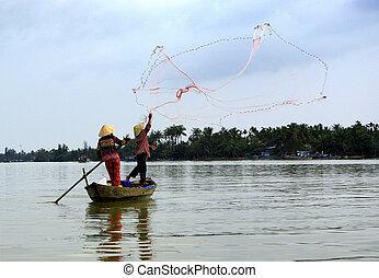 acción, pescadores, dos, vista