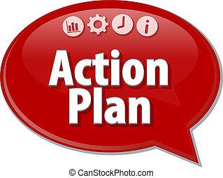 acción, plan, empresa / negocio, término, burbuja del discurso, ilustración