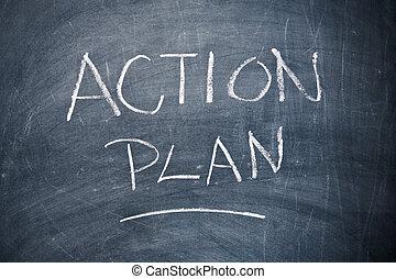 acción, plan, pizarra