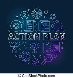 acción, plan, vector, redondo, azul, moderno, contorno, ilustración