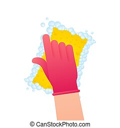 acción, platos, lavado, ilustración, dishes., líquido, dishwashing, amarillo, vector, sponge., dishwashing