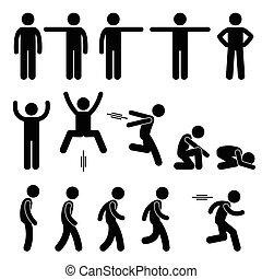 acción, posturas, posturas, humano