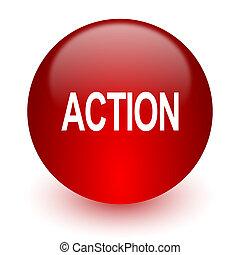 acción, rojo, icono de la computadora, blanco, plano de...