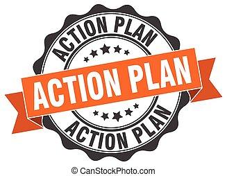 acción, signo., stamp., plan, sello