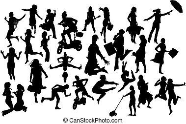 acción, silhouettes., vector, ilustración, mujeres