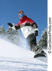 acción, snowboarder
