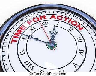 acción, tiempo, -, 3d, reloj