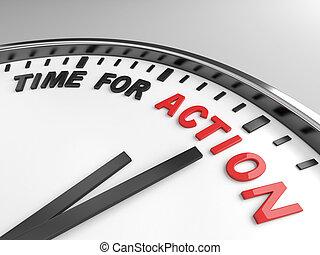 acción, tiempo