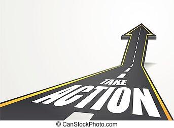 acción, toma, camino