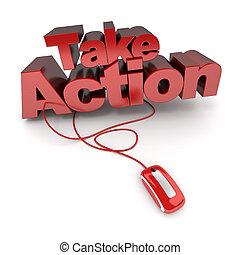 acción, toma