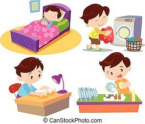 acción, trabajando, niño, muchos, hogar
