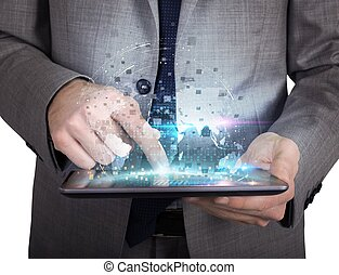acción, trabajo, con, tableta