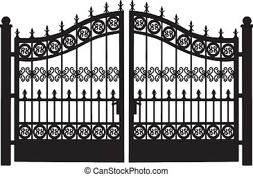 acciaio, cancello, openwork