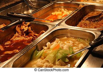 acciaio, cinese, servizio, ristorante, cibo, dentro, vassoio, stesso, pieno