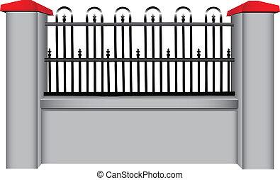 acciaio, concreto, recinto, inserto