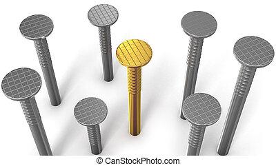 acciaio, dorato, isolato, chiodo, ones, fra, bianco