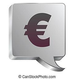 acciaio, euro, bolla, icona
