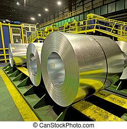 acciaio, fabbrica, dentro, bobine