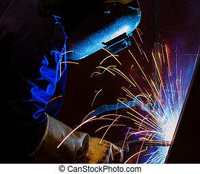 acciaio, fabbrica, struttura, saldatura