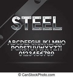 acciaio, font, e, numeri