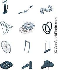 acciaio, forchetta, isometrico, sella, immagini, cornice, parti, bicicletta, posto, vettore, manovella, pedale, bicycle.