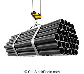 acciaio, gancio, tubi per condutture, gru, sollevamento