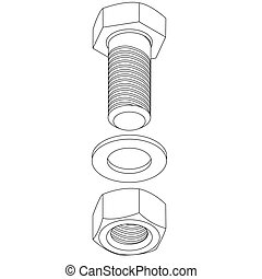 acciaio, illustration., inossidabile, nut., vettore, bullone