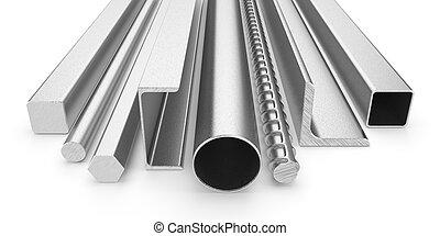 acciaio, inossidabile, isolato, prodotti, fondo, bianco, 3d