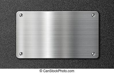 acciaio inossidabile, piastra metallo, sopra, nero,...