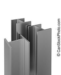 acciaio inossidabile, profili, su, uno, bianco, fondo.