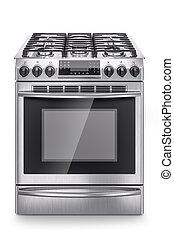 acciaio, inossidabile, stufa, domestico, isolato, fondo., gas, bianco, 3d