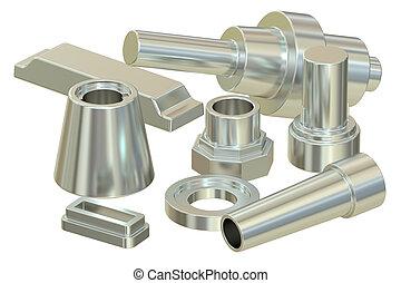 acciaio, interpretazione, parti, gettare, (aluminum), contraffatto, o, 3d