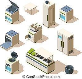 acciaio, isometrico, industriale, ristorante, stufa, cottura, equipment., vettore, forno, scaffalatura, attrezzi, frigorifero, cucina
