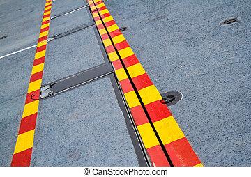 acciaio, linea, floor., giallo, rosso