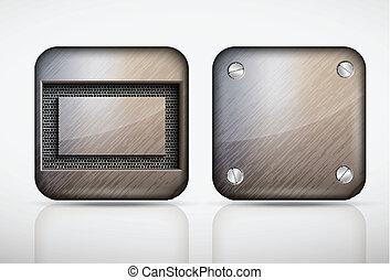 acciaio, metallo, app, icone