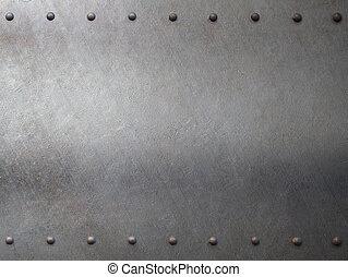 acciaio, metallo, armatura, con, chiodi, fondo