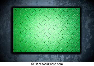 acciaio, metallo verde, fondo, piastra