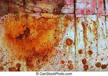 acciaio, ossidato, grunge, struttura, vernice, arrugginito,...