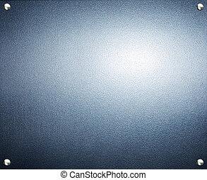 acciaio, piastra, blu, metallo, fondo., metal.
