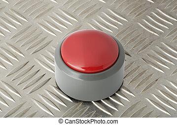 acciaio, piastra, diamante, bottone, fondo, spinta, rosso