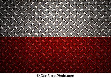 acciaio, piastra, diamante, polonia, seamless, bandiera