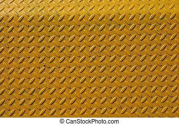 acciaio, piastra, diamante, sfondo giallo