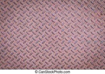 acciaio, piastra, modello diamante, metallo, seamless, struttura, fondo