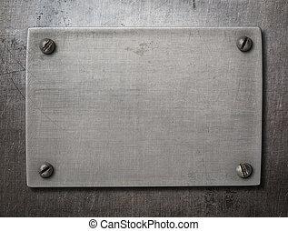 acciaio, piastra, vecchio, bulloni, metallo, fondo