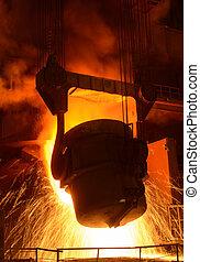 acciaio, produzione, convertire, fornace