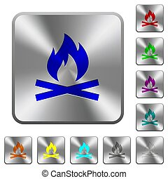 acciaio, quadrato, arrotondato, fuoco, campeggiare, bottoni