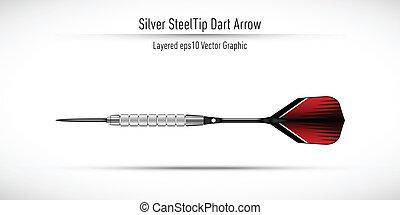 acciaio, realistico, punta, freccia, freccetta