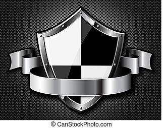 acciaio, scudo, con, nastro