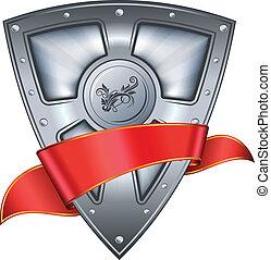 acciaio, scudo, con, nastro rosso