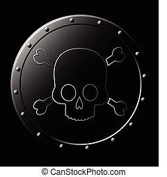 acciaio, scudo, cranio, -, isolato, nero